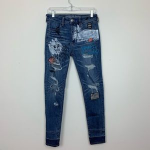American Eagle Distressed Hi-Rise Painted Jeans